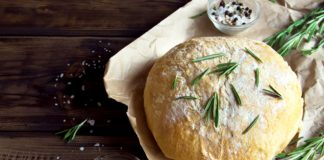 rosemary bread on a wooden board