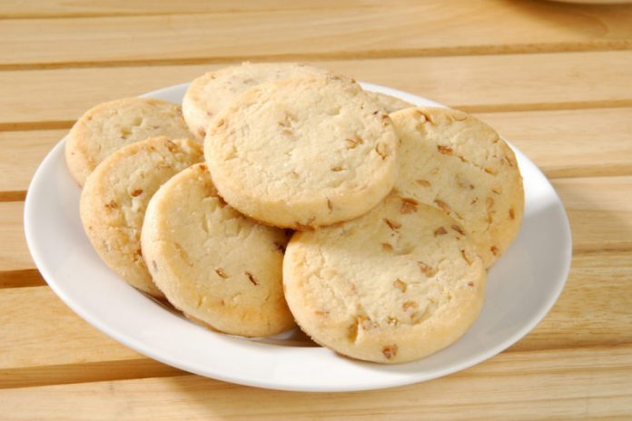 gluten-free pecan shortbread cookies on a plate