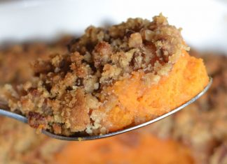 piece of sweet potato casserole on a spoon
