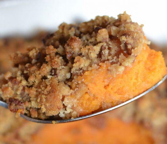 piece of sweet potato casserole on a spoon