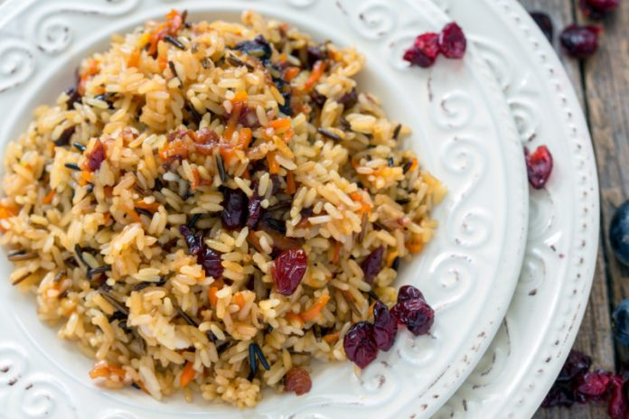 Cranberry Wild Rice Pilaf on a plate